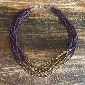 Purple and gold beaded necklace